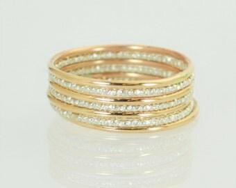 Gold and Faceted Silver Ring Set, Stacking Ring Set, Dainty Ring Set, Christmas Ring Set, Elegant Rings, Mixed Metal Ring Set, Bi Metal Ring