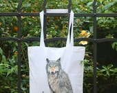 Cotton bag with a painted wolf,shopping bag,tote bag,wolf gift,wolf bag,painted wolf,wolf accessories,boho bag