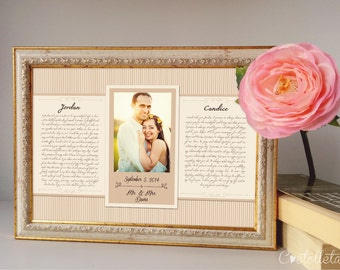 Wedding Vow Art, Framed Wedding Vows, Wedding Vow Keepsake, Wedding Vow Framed, Wedding Vow Print