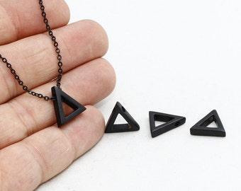 3 Pcs Black Triangle Pendant, Triangle Charms, Geometric Necklace, Triangle Jewelry, ETS145