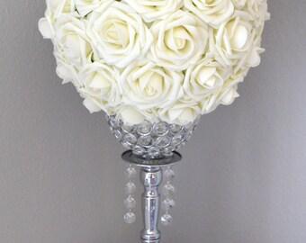 IVORY Flower Ball. Kissing Ball. Pomander. Wedding Centerpiece. Flower Girl. Wedding Decor. Premium Real Touch Roses. Pick Your Size.
