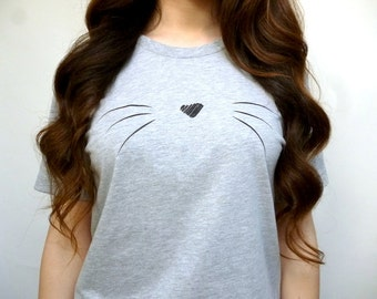 Cat Shirt - Cute Cat Shirt - Cat Whiskers Shirt - Heather Gray Cat Shirt - Whiskers Cat Shirt - Cat Lovers Gift