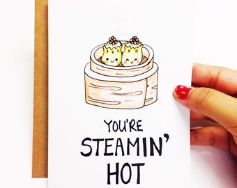 Love card, funny love card, cute love card, anniversary card, funny anniversary card, foodie pun, foodie card, dim sum card, food pun card
