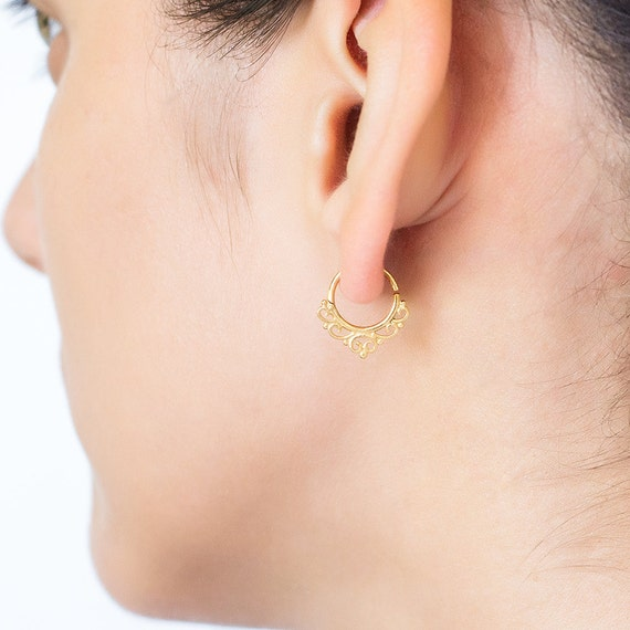 Tribal cartilage earring. tiny hoop earrings. Available in gold plated brass, brass and sterling silver