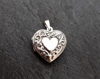 Sterling Silver Heart Locket, Victorian Style Pendant