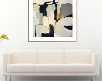 Minimalist abstract painting, grey white abstract, large grey abstract painting, abstract wall art, grey white painting, ABSTRACT PRINT