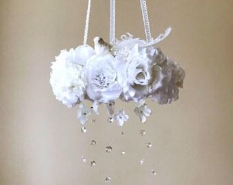 Floral mobile, Flower mobile with genuine Swarovski crystals / Vintage inspired, White and gold, Wedding chandelier, wedding decor