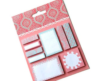 Sticky notes, page flags, page markers, planner flags, planner accessories, planner supplies, pink and grey, stickynotes