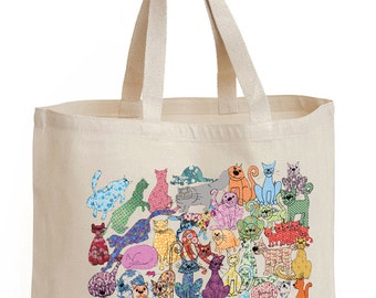 Shopping bag, cat design, shoulder bag shopper, tote, Cats cotton canvas bag. Recycle for no plastic in the ocean