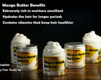 Mango & Avocado Hair Butter with grapeseed oil.