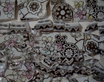 Mosaic Tiles Pieces- Brown Aesthetic - Transferware - Mosaic Pieces- Vintage -Broken China -Tessera Pieces