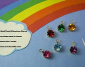 YOUR Choice Swarovski Rhinestone Charms Set of 6 Assorted Colors OR all Same Color