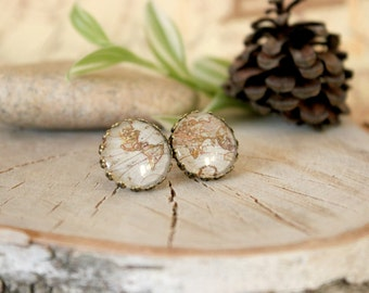Vintage Map Stud Earrings,Antique Bronze, Glass Cabochon