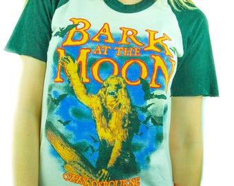 Vintage Ozzy Osbourne Shirt 80s Tee Bark at the Moon Black Sabbath 3/4 Sleeve Baseball Tee 80s shirt Iron Maiden Slayer Boho Rocker Dio