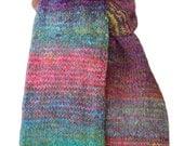 Hand Knit Scarf - Pink Green Striped Keepsake Silk Mohair Lambswool