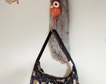 """Upcycled Driftwood with cast iron hand painted rustic owl hook Ready to Ship Length 17""""  Width 5""""  Depth 4"""""""