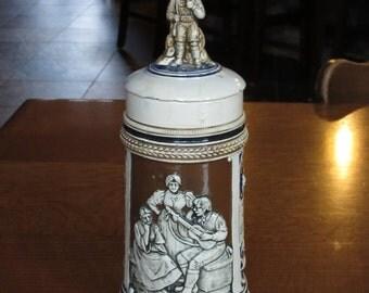 Antique Early 1900's Beer Stein, Ceramic Stoneware Lid, Figural Finial, Vintage German Beer Stein, Antique Stein,Barware,Bei Bier und Gesang