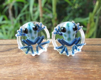 """Sky Blue Frogs with Green Spots Glass Plugs - 1 PR  00g 7/16"""" 1/2"""" 9/16"""" 5/8"""" 3/4"""" 1"""" 9.5 mm 10 mm 12 mm 14 mm 16 mm 18 mm 20 mm 22 mm 25 mm"""