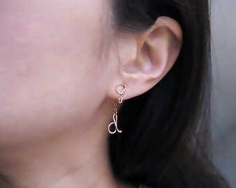 Rose Gold Ear Jacket - personalized initial front back earrings, mismatch stud, nickel free, modern minimal jewelry - Short