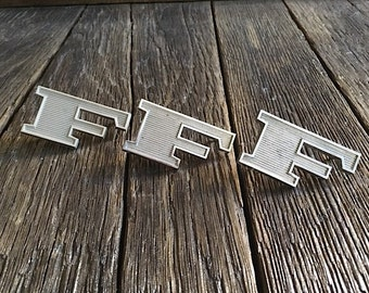"""Ford Emblems - 3 Vintage Ford Emblems - 1960's Ford """"F"""" Metal Emblems Original Ford F Emblems - Ford Truck Trim Emblems - Ford Hood Emblem"""