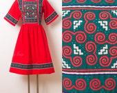 Vintage Red Dress, 60s Dress, Vintage Patchwork Dress, Mad Men Dress, Boho dress, 60s Red Dress, Vintage Summer Dress - M/L