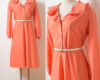 Vintage Dress, Mad Men Dress, 60s Dress, Vintage Orange Dress, Ruffle dress, Pan Collar Dress, 60s Orange Dress, Plus Size - XL/1XL