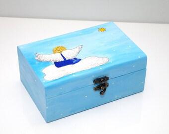 Wooden Keepsake box Wooden child jewelry box Children box Angel Childrens jewelry box Boite a bijoux Geschenk box blau Wooden jewelry box