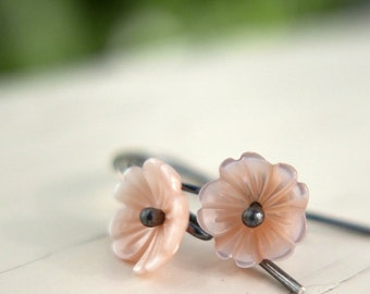 Pink Lily of the Valley - oxidized tiny flower minimalist earrings