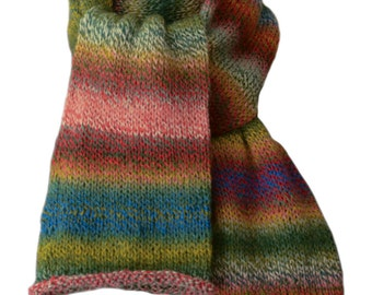 Hand Knit Scarf - Terra Cotta, Green, Blue, Gold Striped Keepsake Wool