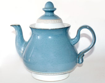 Denby Castile Blue Teapot, 1970's Denby English Stoneware, Renaissance Mid Blue, Geometric Relief Mould, 1 3/4 Pint Footed Teapot