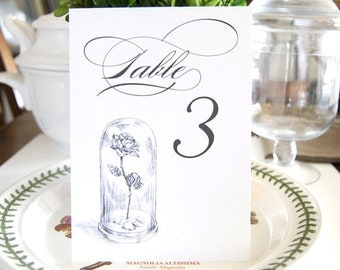 Beauty and the Beast, Fairytale Wedding, Disney Table Numbers (1-10)