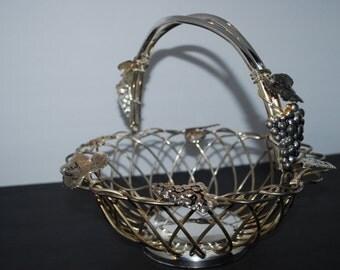 Godinger Basket Weave Design with Grapes and Leaves