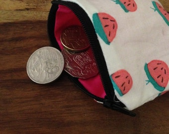 Coin Purse - HandPrinted Purse - Purse - Strawberry Print Coin Purse
