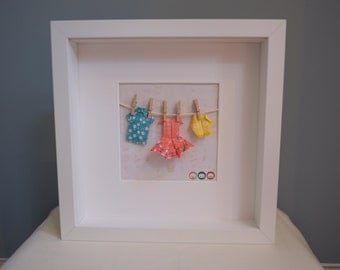 Family themed origami art frame - personalised gift