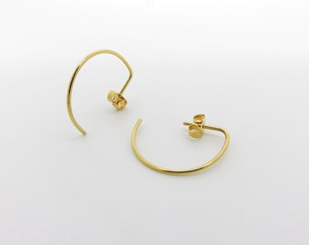 Gold Plated Sterling Silver Hoops-Minimal and Simple Jewelry-Semi Round Hoops-Shiny-2 ways to wear