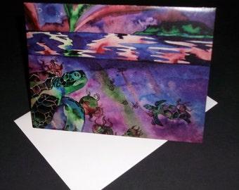 Sea Turtles in Northern Lights Blank Note Card, Original Art