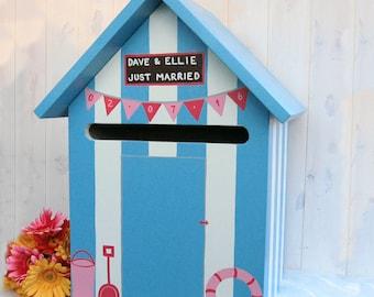 Beach Hut Personalised Wedding Post Box / Hand-made Wedding Card Box