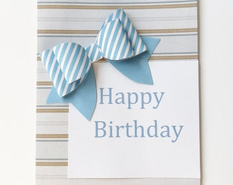 Birthday Card with Large Bow Accent//Stationary//Birthday Party/ Greeting Card//Birthday