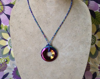 Beaded Necklace Donut Pendant, Rainbow, Blues, Violets