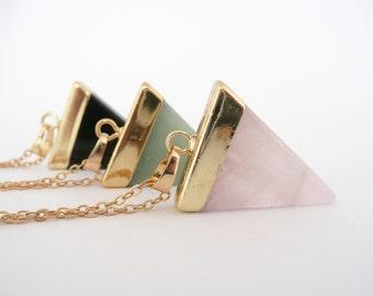 Rose Quartz Necklace, Onyx Necklace, Aventurine Necklace, Gemstone Necklace,  Boho Necklace
