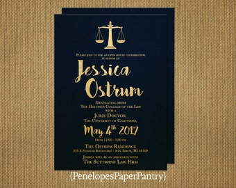 law school graduation invitationgraduation announcementnavy and goldjuris doctorateopt - Law School Graduation Invitations