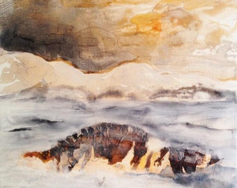 Lonely landscape original painting ink and pigments on canvas