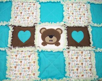 Rag Quilt, Teddy Bear Rag Quilt, Applique Rag Quilt, Baby Rag Quilt for sale, Baby Boy Quilt, Blue Baby Blanket, Handmade Quilts, Toddler