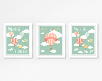 Hot Air Balloon Baby Shower Gift, Pink and Mint Nursery Decor, Personalised Baby Name Print, New Baby Gift, Hot Air Balloon Nursery Print