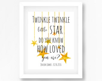 Personalised New Baby Gift, Baby Shower Gift, Gender Neutral Baby Decor, Twinkle Twinkle Little Star Print, Neutral Nursery Wall Art,