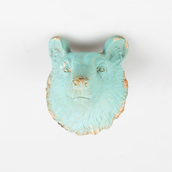 Bear Head Shaped Door Knobs Distressed Rustic Duck Egg Blue