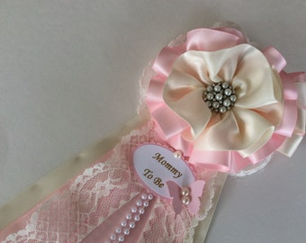 Light pink and ivory Baby shower corsage/Girl baby shower corsage/Pink baby shower corsage/Elegant baby shower corsage/Shabby chic corsage