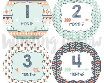 Baby Month Stickers Baby Boy Monthly Milestone Stickers Baby Shower Gift First Year Belly Stickers 12 Months Milestone Tribal Arrows Sticker