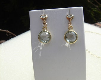 Gold Earrings with heart, 585 goldfilled with green amethyst