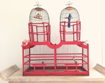 large vintage handmade birdcage